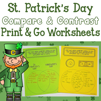 St. Patrick's Day Comparing and Contrasting NO PREP worksheets