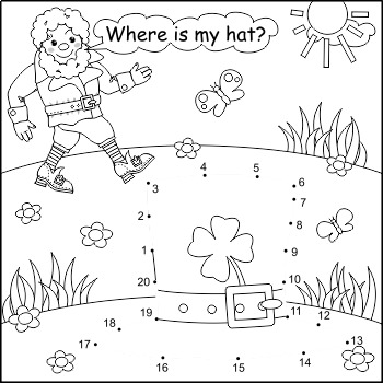 St. Patrick's Day Connect the Dots and Coloring Page, Non-CU