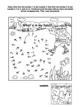St. Patrick's Day Connect the Dots and Coloring Page with Clover Leaf, CU