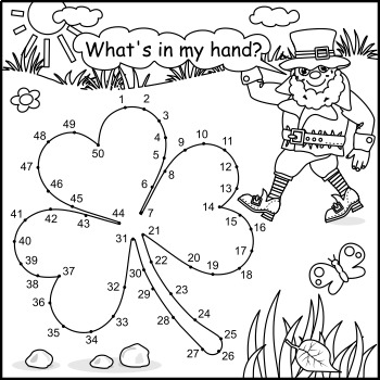 St. Patrick's Day Connect the Dots and Coloring Page with Clover Leaf, Non-CU