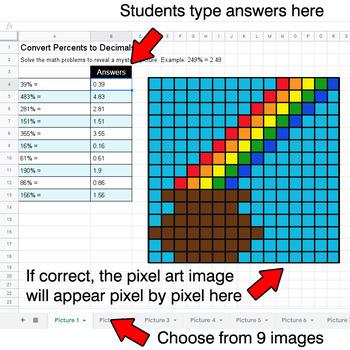 St. Patrick's Day - Convert Percents to Decimals - Google Sheets Pixel Art