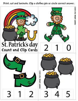 St. Patrick's Day Count and Clip Cards - Numbers 1-20