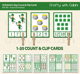 St Patrick's Day Count and Clip Cards - numbers 1 - 20