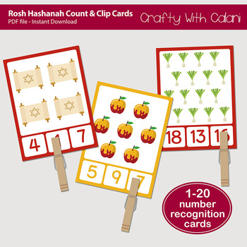 Rosh Hashanah Count and Clip Cards - numbers 1 - 20
