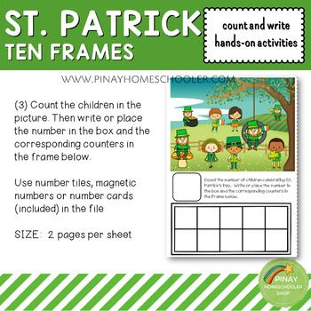 St. Patrick's Day Ten Frames Count and Write Activities