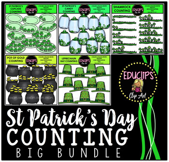 St Patrick's Day Counting Big Bundle Clip Art  {Educlips Clipart}