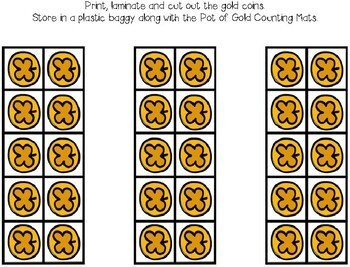 St. Patrick's Day Counting Mats 1-10 -- Pot Of Gold Counting Mats w/ Tens Frames