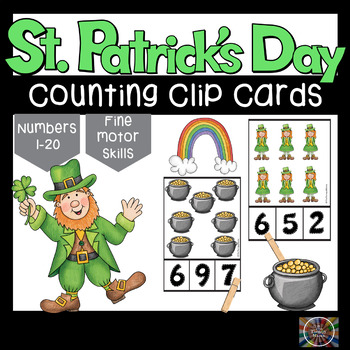 St Patrick's Day Counting Number Clip Cards 1 - 20 No prep Math Center Cards ABA