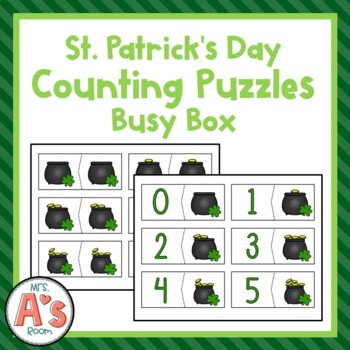 St. Patrick's Day Counting Puzzles Busy Box