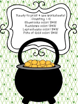 St. Patrick's Day Counting Worksheets 1-10