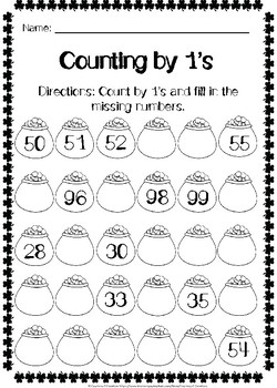 St. Patrick's Day Counting by 1s Worksheets