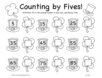 St. Patrick's Day Counting by Fives Worksheet K-2nd Grade