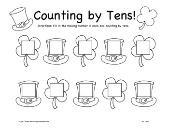 St. Patrick's Day Counting by Fives and Tens Worksheet BUNDLE K-2nd Grade