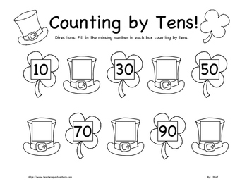 St. Patrick's Day Counting by Tens Worksheet K-2nd Grade