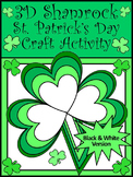 St. Patrick's Day Art Activities: 3D Shamrock Craft Activity - Black & White