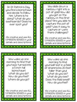 St. Patrick's Day Creative Writing Task Card Prompts- Using Imagery