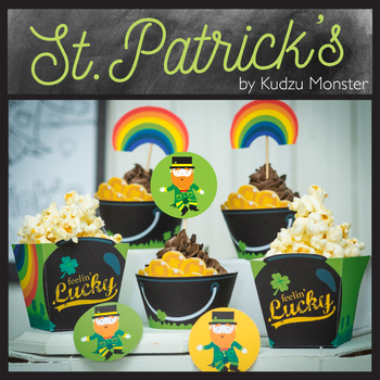 St. Patrick's Day Cupcake Wrappers and Popcorn Boxes