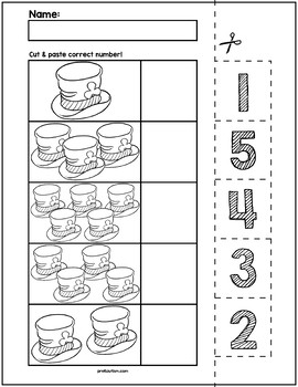 St. Patrick's Day Cut & Match Worksheets   Numbers 1-5