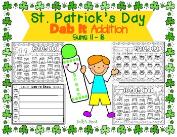 St. Patrick's Day Dab It Addition with the sums 11-18