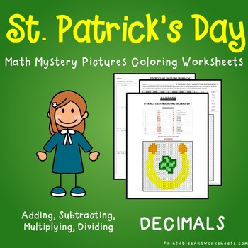 Operations with Decimals, St. Patrick's Day Decimals Mystery Pictures Worksheets