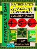 St Patrick's Day Decimals Fractions WorkSheets - Grade 4, Grade 5 and Grade 6