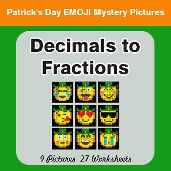 St. Patrick's Day: Decimals To Fractions - Color-By-Number Math Mystery Pictures