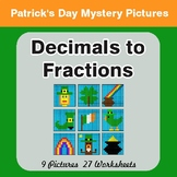 St. Patrick's Day: Decimals To Fractions - Color-By-Number