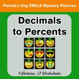 St Patrick's Day: Decimals to Percents - Color-By-Number Math Mystery Pictures