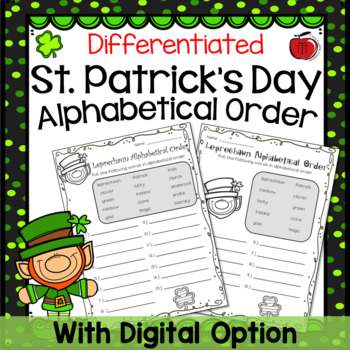 St. Patrick's Day Differentiated Alphabetical Order
