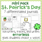 St. Patrick's Day Differentiated Journals - Writing for Special Education