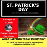 St. Patrick's Day Differentiated Reading Passage March 17