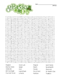 St. Patrick's Day Difficult Word Search & Coloring Page (for use in SUB plan?)