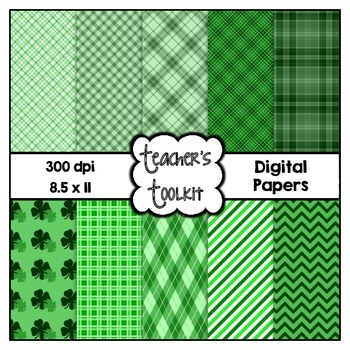 St. Patrick's Day! Digital Background Papers {8.5 x 11} Clip Art CU OK