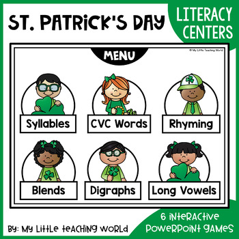 St. Patrick's Day Digital ELA Centers (Interactive Powerpoint Games)