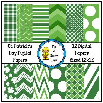 St. Patrick's Day Digital Paper (Green & White)