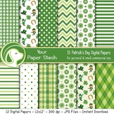 St. Patrick's Day Digital Paper Backgrounds, St. Paddy's D