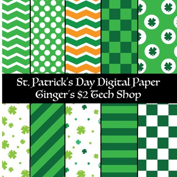 St. Patrick's Day * Digital Paper * Shamrocks * Green