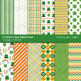 St Patrick's Day Digital Paper and Background Set - 12 high res background image