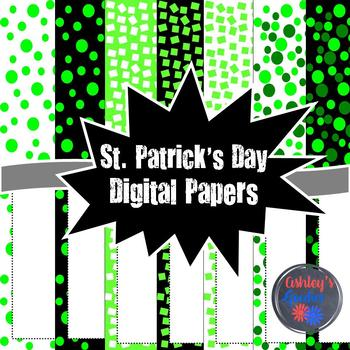 St. Patrick's Day Digital Paper with Matching Frames