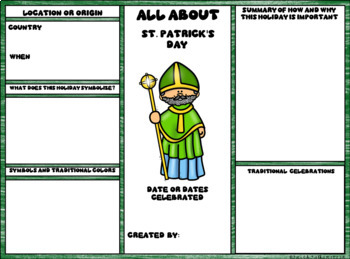 St. Patrick's Day Digital Research Brochure in Google Slides™