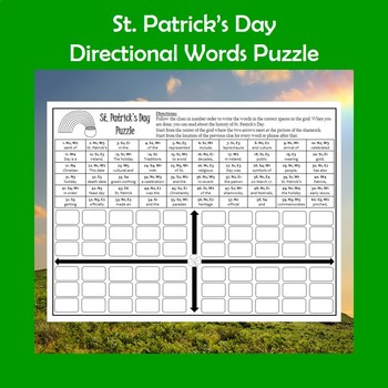 St. Patrick's Day Directional Words Puzzle