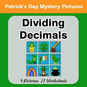 St Patrick's Day: Dividing Decimals - Color-By-Number Math Mystery Pictures