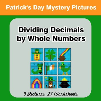 St. Patrick's Day: Dividing Decimals by Whole Numbers - Math Mystery Pictures