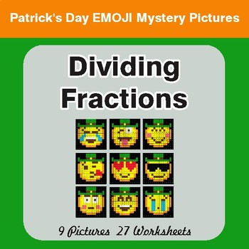 St. Patrick's Day: Dividing Fractions - Color-By-Number Math Mystery Pictures