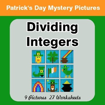 St Patrick's Day: Dividing Integers - Color-By-Number Math Mystery Pictures