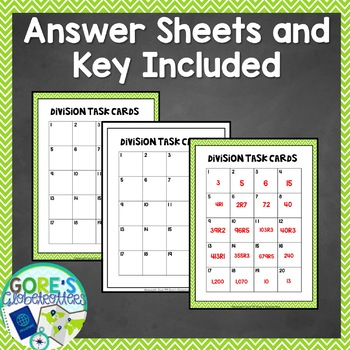 Division Task Cards 2, 3, and 4 Digit Dividends