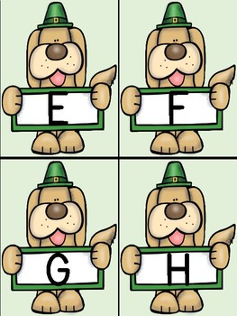St. Patrick's Day Dog Alphabet Letter Flashcards Uppercase and Lowercase
