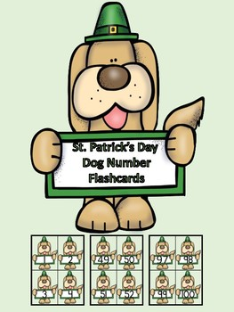St. Patrick's Day Dog Number Flashcards 0-100