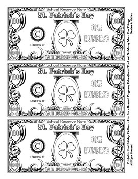 St. Patrick's Day Dollars - Teach Money, Use for Rewards, Center Support & More