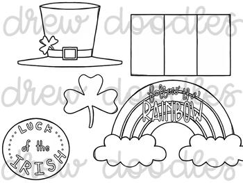 St. Patrick's Day Doodles Digital Clip Art Set- Black Line Version